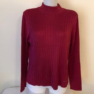 Talbots size XL 100% silk red ribbed sweater